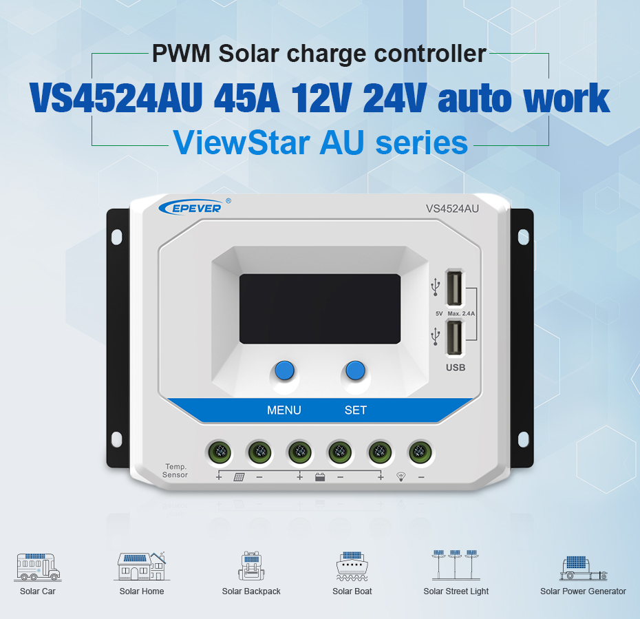EPEVER 45A Solar Controller 12V 24V Auto VS4524AU PWM Charge Controller with Built in LCD Display and Double USB 5V Port_01