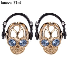 Janewu Wind Rock Skull Head Stud Earring metal punk style blue crystal eye Headset Skeleton Head Earring women