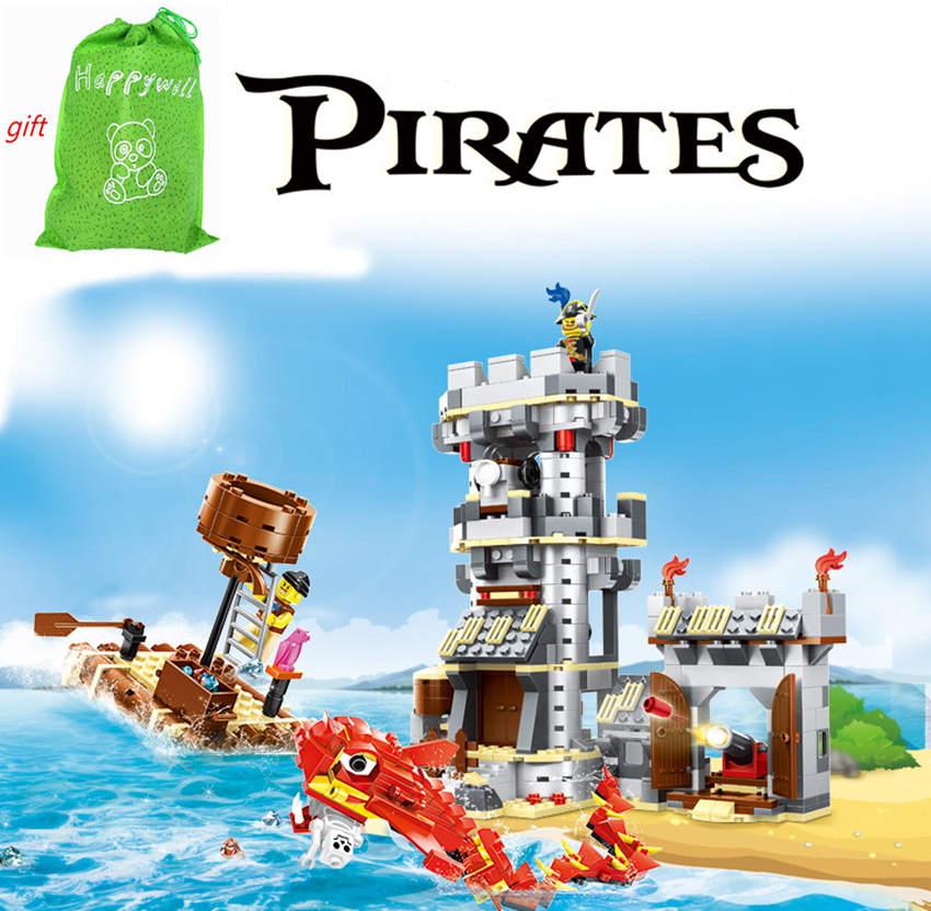 Happywill 744pcs Building Blocks Series Kraken Attackin Pirates Fortress Set Plastic Enlighten Bricks Toys Boys Compatible<br>
