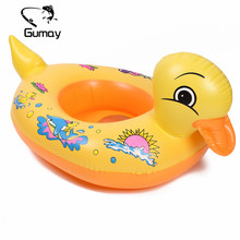 Gumay 1pc Cute Yellow Duck Swimming Ring Kids Baby Child Inflatable Swimming laps Pool Swim Ring Seat Float Boat Water Sports(China)