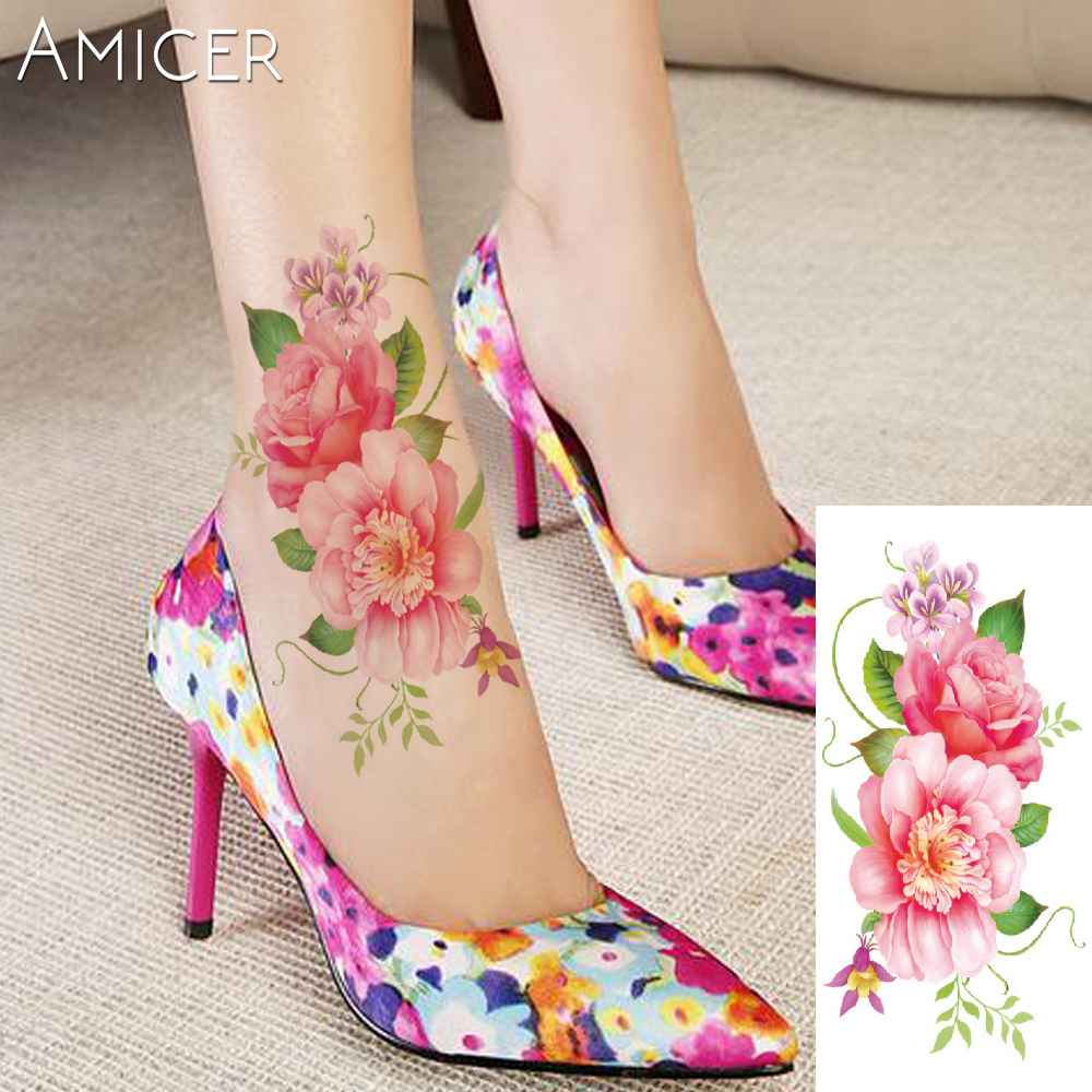 3D lifelike Cherry blossoms rose big flowers Waterproof Temporary tattoos women flash tattoo arm shoulder tattoo stickers 15