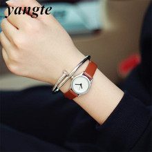 YANGTE 2017 Fashion Ladies Elegant Leather Watch Luxury Womens Quartz Watch Charm Mini Watch Women Dress Watch AB852