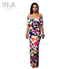 Yilia Women Boho Maxi Dress 2017 New Spring Summer Style Off Shoulder Ruffled Print Long Dresses Feminine Floor Length Gown D119(China)