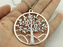 WYSIWYG new fashion antique silver color 63*57mm big tree pendant necklace, 70cm chain long necklace