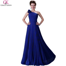 Grace Karin One Shoulder Bridesmaid Dresses Royal Blue Chiffon Cheap Floor Length Handmade Flowers Pleats Maid of Honor Dress