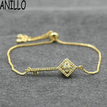 ANILLO Women Key Bracelets New Micro Pave Cubic Zirconia Square Copper Box Chains Charm Bracelets Adjustable Jewelry(China)