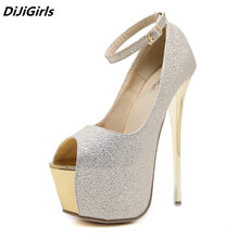 DiJiGirls Shoes Woman Luxury 2018 Women Pumps Platform Ankle Strappy Shoes Silver/Gold Super High Heels Women Catwalk Stilettos(China)