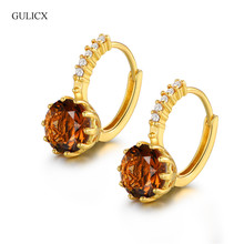Best Quality Fashion Yellow Pure Gold-color CZ Element Stud Earrings For Women Brown Clear Stone Free Shipping E006i(China)