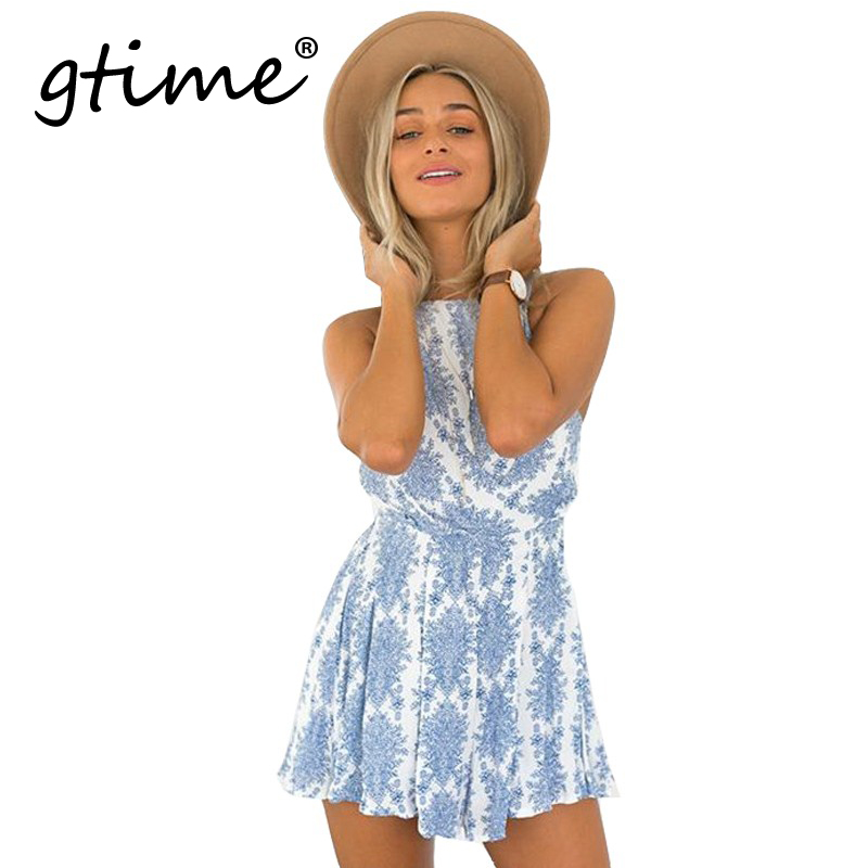 GTIME 2016 Summer style blue floral print women jumpsuit romper  strap backless paysuit Casual bow beach overalls # WGT70