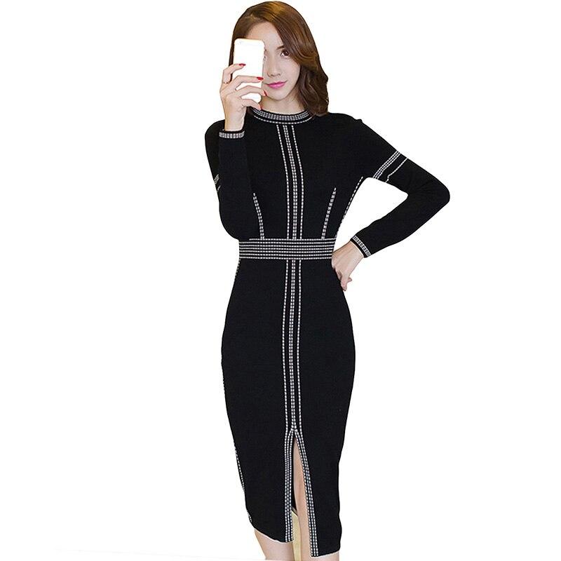 Knitted Dress 2017 Autumn Winter Women Slim Was Thin Sweater Dresses Bottoming Split OL Sexy Elasticity Dress Vestido YP0677 Îäåæäà è àêñåññóàðû<br><br>