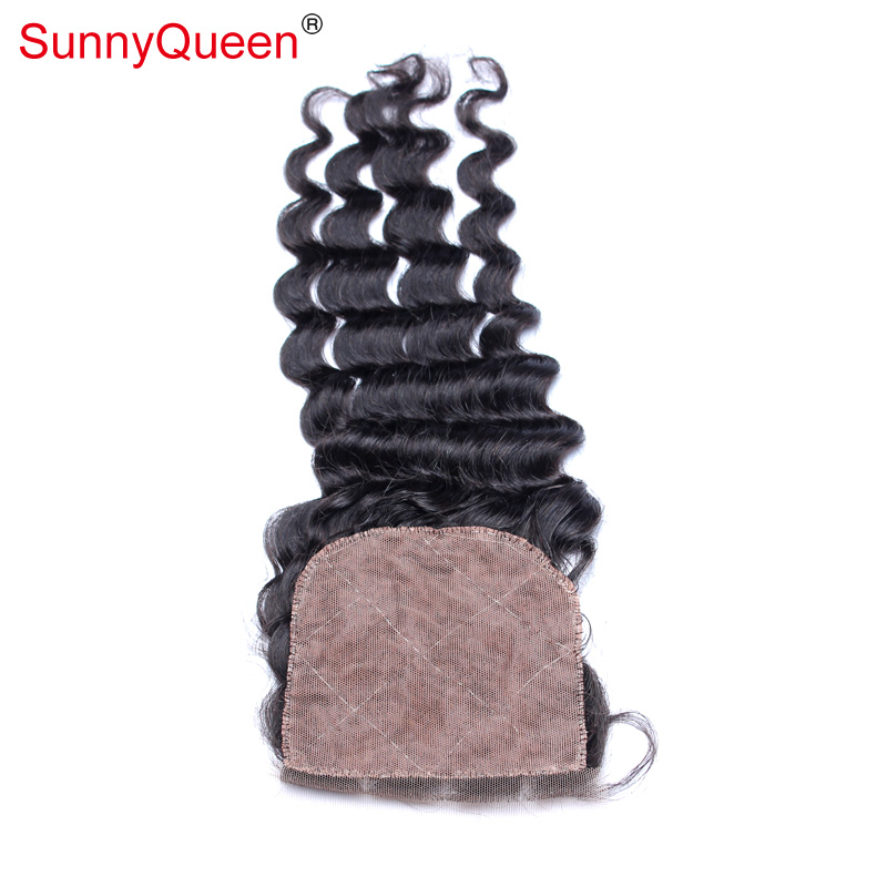 6A Brazilian Virgin Deep Wave Silk Base Closure 4X4 Brazilian Deep Wave Curly Human Hair Silk Base Lace Closure Hidden Knot<br><br>Aliexpress