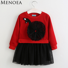 Menoea 2017 New Autumn Fashion Style Long Sleeve Girls Dress Kids Dresses  Cartoon Swan Pattern Knee Length Princess Dress 3-7Y