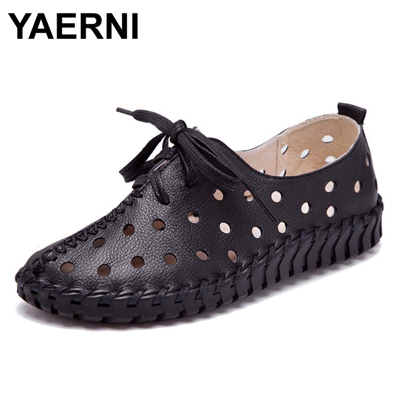 YAERNI Spring and summer new genuine leather shoes women hollow female Lace genuine leather flats women shoes casual shoes women<br>
