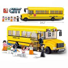 City School Bus Building Set Coach Kids Car Vehicle Model Construction Brick Block Figure Learning Toy Compatible With Lego(China)