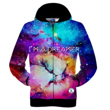 New 2016 Fashion Mens/Womens Dazzling Space Galaxy Printed 3D Hoodies Sleeve Knitted Jacket Casual Zipper Sweatshirt Coats