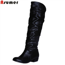 Asumer fashion hot sale new arrive women boots black white brown low heel knee boots slip on autumn winter ladies high boots(China)