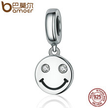 Buy BAMOER New Collection 925 Sterling Silver Smile Face Letter Pave Dangle Charms fit Women Charm Bracelets Jewelry Gift SCC258 for $4.28 in AliExpress store