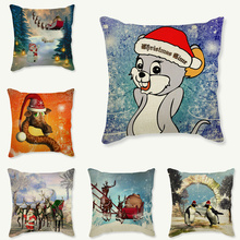 Happy New Year Gift Christmas Tree Pillow Cases Santa Claus Cushion Cover 18'' Giraffe and Penguin Decor Sleigh Ride Seat Covers(China)