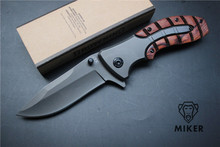 MIKER Browning X47 Tactical Folding Pocket Knife Steel Blade Wood Handle Titanium Survival Huntting Fishing EDC Tool box