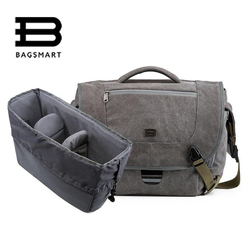 BAGSMART Water Resistant Vintage Camera Shoulder Bag Canvas Messenger Bag Canon Nikon DSLR Camera Bags To Travel Casual Satchel <br><br>Aliexpress