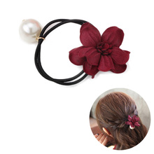 2017 Now Hot Sale Girls Scrunchy Hair Accessories Hairband Rope Headband Flower Princess Pearl Elastic Hair Band(China)