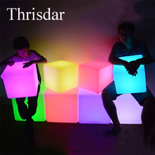 Thrisdar RGB Rechargeable Cube Led Night Light Lamps Outdoor illuminated Furniture Cube Chair bar KTV Pub Plastic Tables Light(China)
