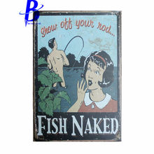 Custom Neon Sign SHOW OTT YOUN NOD... FISH NAKED Vintage Metal Tin Signs Retro Tin Plate Sign Wall Decoration Metal Crafts Pub