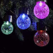 4Pcs/ Pack LED Color-changing Solar Hanging Light Crackle Glass Globe Lights Christmas Decor Lighting for Garden Fence