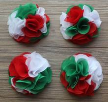 "40pc/lot 4"" 24 Petals Christmas Multilayer Chiffon Fabric Big Flowers For Girls Hair Accessories,Chiffon Headband Flowers"
