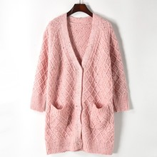 European street style new 2017 autumn winter women v-neck pink loose long sweater cardigan ladies fashion knitwear tops