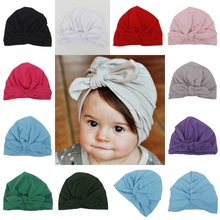2017 Direct Selling Unisex Solid Baby Hat Bonnet Enfant Gorras New Spring Autumn Infant Cotton Ears Hat Knot Cap Indian Bow(China)