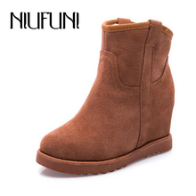 New Arrival Fashion Winter Women's Snow Boots 2016 Height Increasing Genuine Leather Shoes Women Thicken Mid Calf Snow Boots