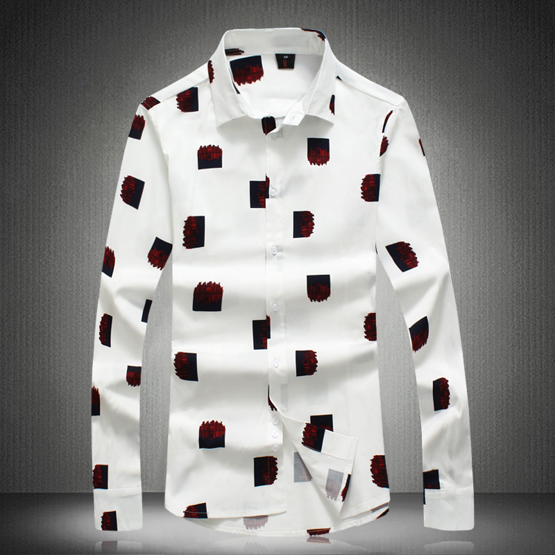 Men Clothes 2019 New Geometric Pattern Man Shirt Long Sleeve Casual Slim Fit Camisa Social Masculina Pure Color Ropa Hombre