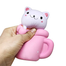 Squishy Pink Cup Cat Toy Cute Lovely Slow Rising Cream Scented Phone Strap Squeeze Toy Kids Baby Gift Elastic Soft Toy Decor