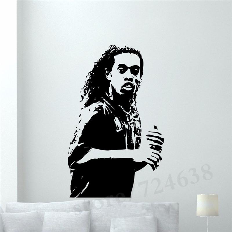 %name Ronaldinho Wall Sticker Football Player Vinyl Decal Home Interior Living Room Sport Art Decor Dorm Club Bar Mural