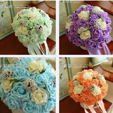 Bridal Bouquets In Stock Handmade Wedding Bouquets Real Images 2016 Romantic Wedding Bridesmaid Rose Artificial Flowers(China)