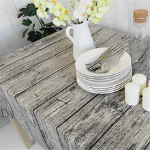 Retro Simulation Wood Striped Table Cloth Wedding Party Decoration Table Clothes Cotton Linen Fabric Grey Tables Runner