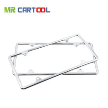 2 X Premium Silver Stainless Steel Metal License Plate Frames Tag w/ Screw US Car