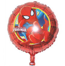 "New 10pcs/lot 18"" Round Spiderman Balloon decor Cartoon Superman decoration Foil Metallized Balloons For Child Toy Free Shipping"