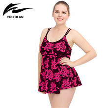 Buy 2018 New Arrival Plus Size Swimwear Women Sexy Two Pieces Swimsuit Swimming Suit Floral Beach Dress Tankini Bathing Suit