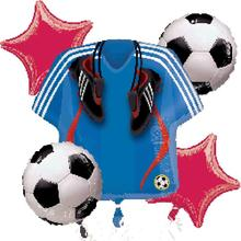 Boy 1st baby shower kids teenager sport football birthday party decoration kits blue soccer sports T-shirt foil balloons sets