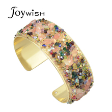 Punk Rock Colorful Blue Rhinestone Adjustable Designer Individual Gold-Color Cuff Bracelet Bangles