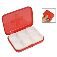 JEYL Hot New Cross Marked 6 Rooms Medicine Pill Storage Case Box Clear Red(China)