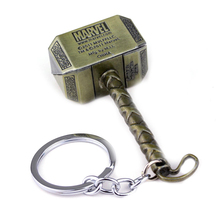 Vintage Thor Hammer Keychains Marvel Avengers Key Rings Movie Series Thor Key Holder Thor The Dark World Key Finder Bags Keyring
