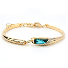 1 PC Water Drop Crystal Bangles For Women White /18K Gold Plated Love Bangles & Bracelets Femme Sapphire-Jewelry Bijoux Femme