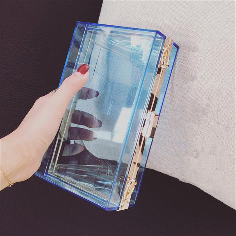 2017 Acrylic Transparent Clutch Chain Box Bag Women Shoulder Messenger Bags Wedding Party Day Clutch Purse Wallet Handbags Li706<br><br>Aliexpress