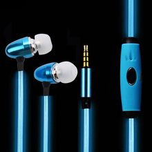 LED Light Flashing Earphone Light Up Stereo Sport Earpiece Glowing Cable Headset with Mic Music Beats Volume