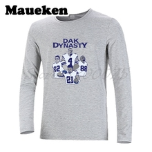 Men Long Sleeve dallas Dak Dynasty Dak Prescott Ezekiel Elliott Dez Bryant Jason Witten T-Shirt Clothes Cowboys T Shirt W1711115(China)