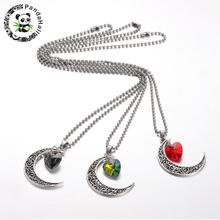 "30pcs Tibetan Style Moon Heart Pendant Necklaces for Women with 304 Stainless Steel Ball Chains, Mixed Color, 21.6""(China)"