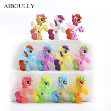 6pcs/set 2017 new G4 little Pony girl toy Little Horse Action Figure Collection Rainbow Dash Pony Kids Toys Set Miniature Model